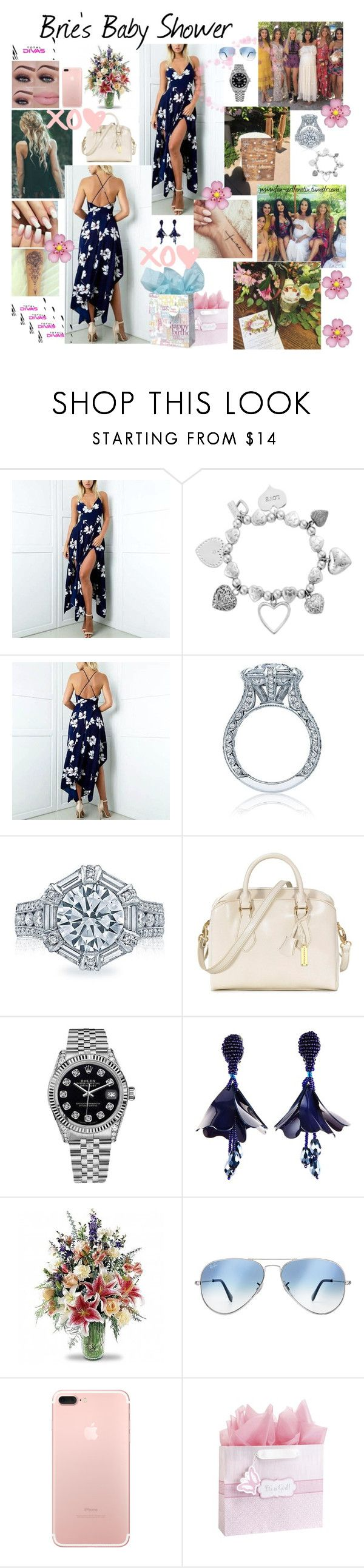 """OC AJ WWE Diva ~ Brie's baby shower"" by fan-girlfanatix ❤ liked on Polyvore featuring ChloBo, Tacori, RABEANCO, Rolex, Oscar de la Renta, Ray-Ban, Fleur of England and C.R. Gibson"