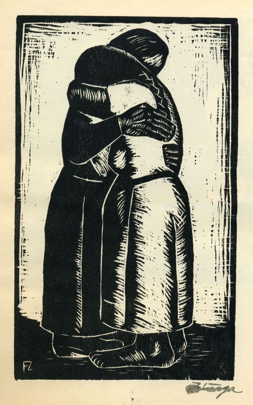 "Abrazo from the portfolio ""Grabados en Madera,"" 1934.  Francisco Zuniga (1912-1998)"