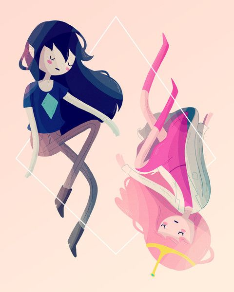 Marceline the Vampire Queen and Princess Bubblegum.  Illustration by Nan Lawson.  Adventure Time.