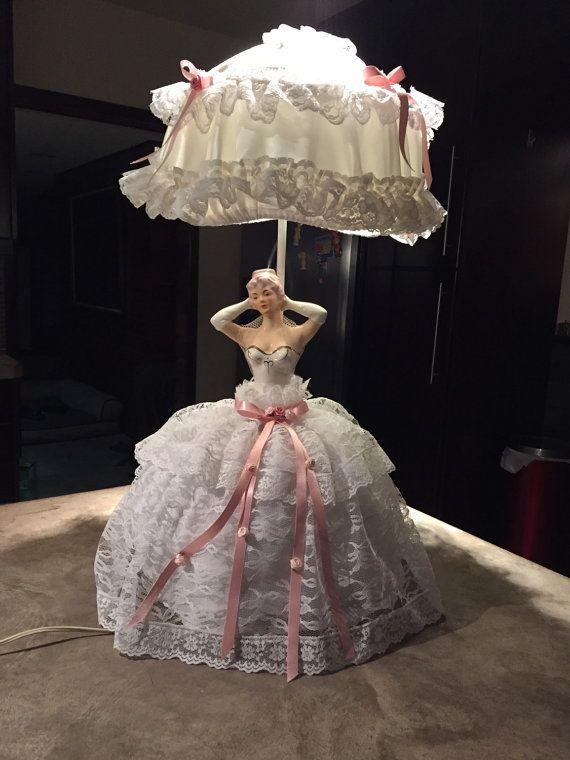 Vintage Boudouir Doll Lamp Lady Table Lamp Bisque