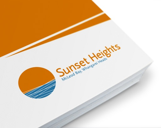 Sunset Heights logo applied to brochure cover.