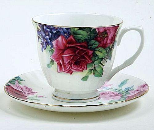 Red English Rose Bone China Tea Cup (Teacup) and Saucer