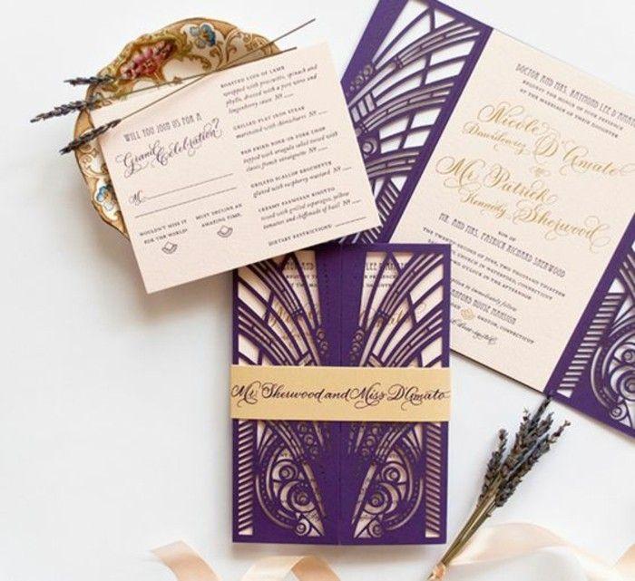 faire part mariage personnalisé en beige et violette foncé et beige doré, deco avec fleurs champetres séchés