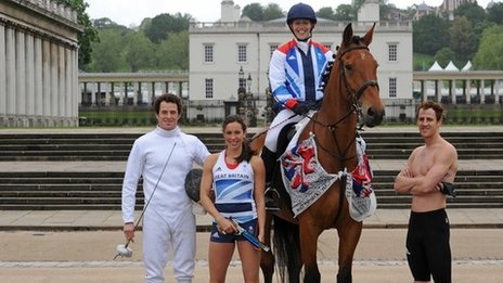 Team GB modern pentathletes Sam Weale, Samantha Murray, Mhairi Spence and Nick Woodbridge.