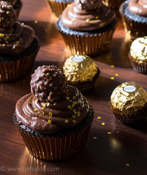 Dark Chocolate Hazelnut Cupcakes. No mixer required! Not even for the frosting. This is an awesome decadent dessert recipe perfect for Easter.