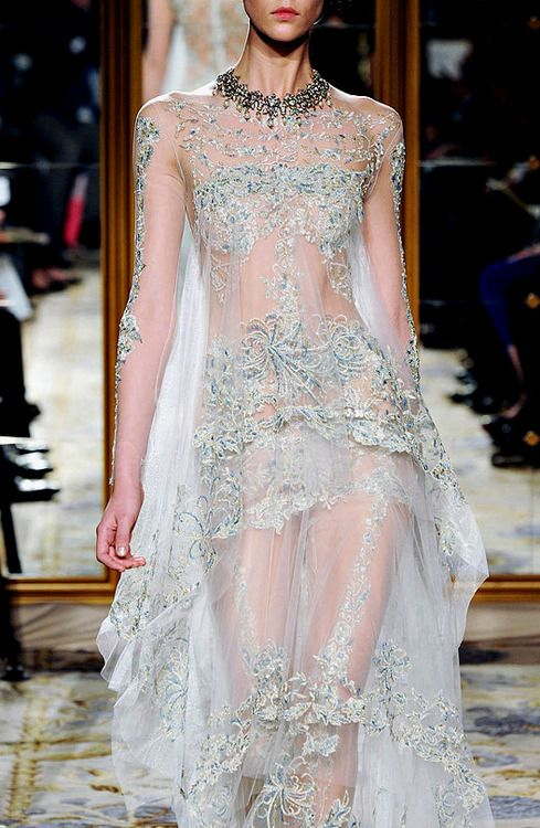 """""""White Walker"""" inspiration Marchesa❣ very very see through but so pretty...."""