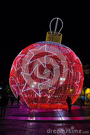 Red giant bauble. Lisbon. Portugal Editorial Image