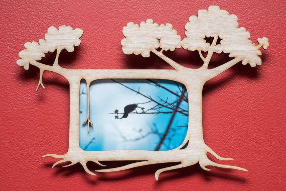 Banyan Tree laser cut mahogany wood picture frame by EliseKoncsek