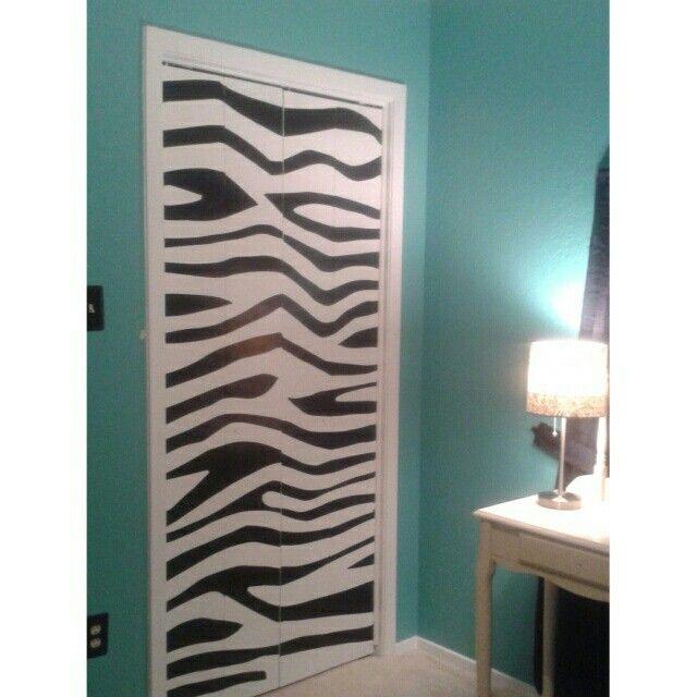 It took me 4 hours to paint my daughters closet door. #zebra #tealbedroom  sc 1 st  Roselawnlutheran | Decor Ideas & zebra closet curtains | Roselawnlutheran pezcame.com