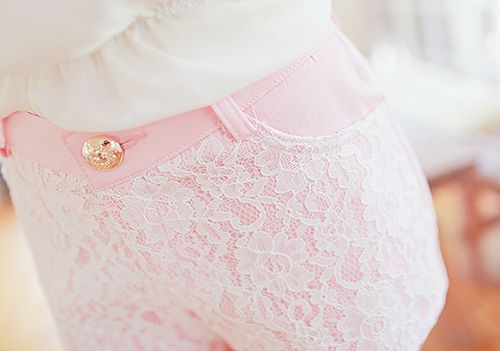 Baby pink and lace shorts