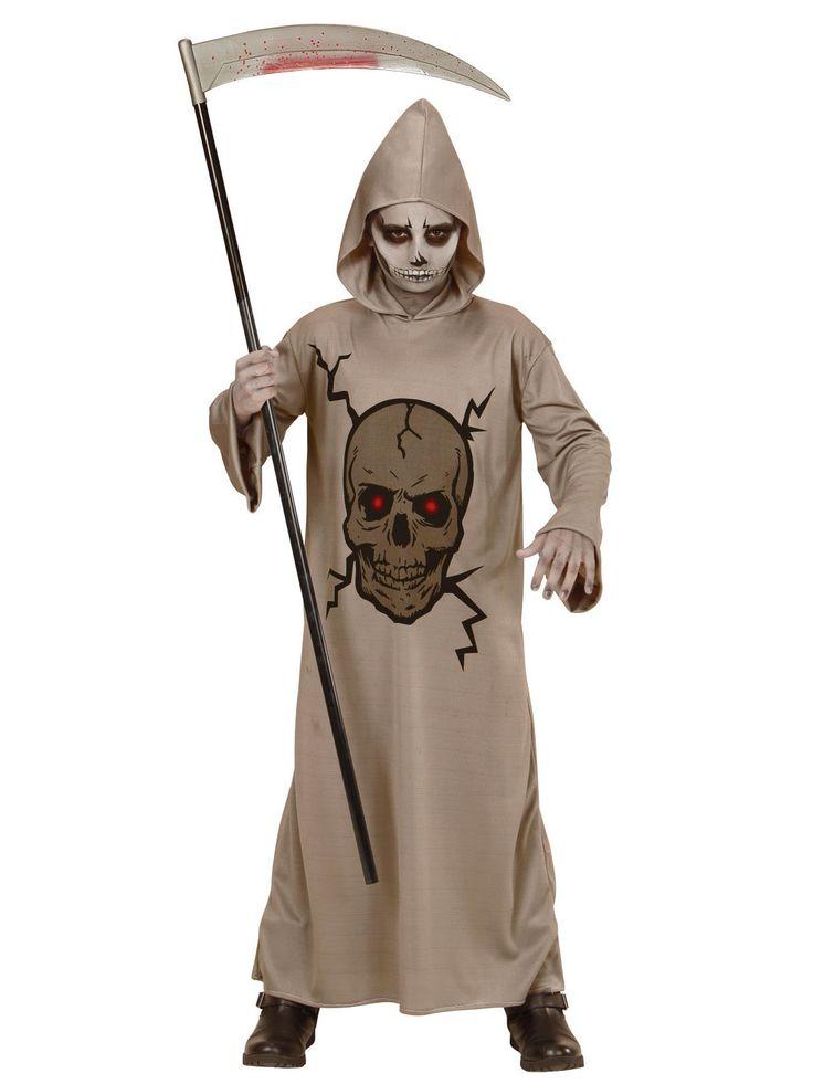 Déguisement faucheuse squelette enfant Halloween : Ce déguisement de faucheur est une longue tunique à capuche.Entièrement grise, elle possède une tête de mort aux yeux rouges perçants avec une expression...