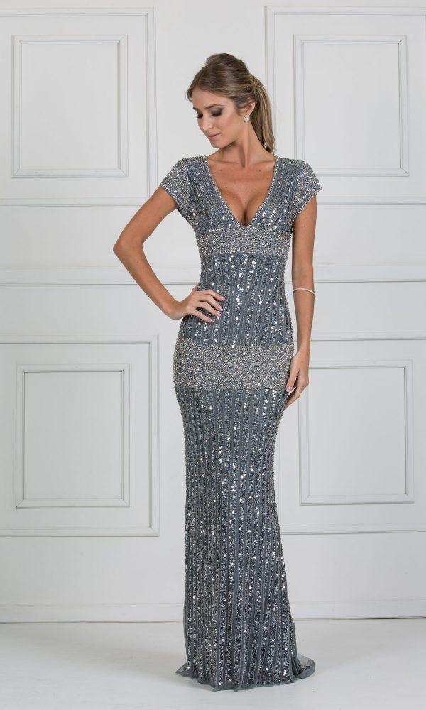 28e2609dc vestido longo cinza bordado | Vestidos de festa longo bordados | Formal  dresses, Dresses e Formal wear