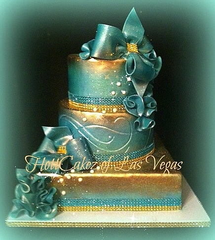 tiffany blue and gold wedding cake blue and gold ombre gorgeous wedding cakes 20992