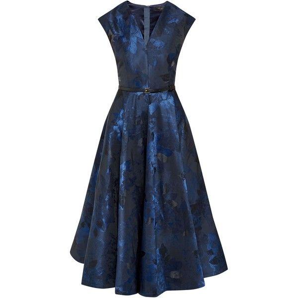 Ted Baker Izita Jacquard V-neck dress (£399) ❤ liked on Polyvore featuring dresses, dark blue, women, below the knee dresses, ted baker dresses, v-neck dresses, blue pleated dress and blue fit-and-flare dresses