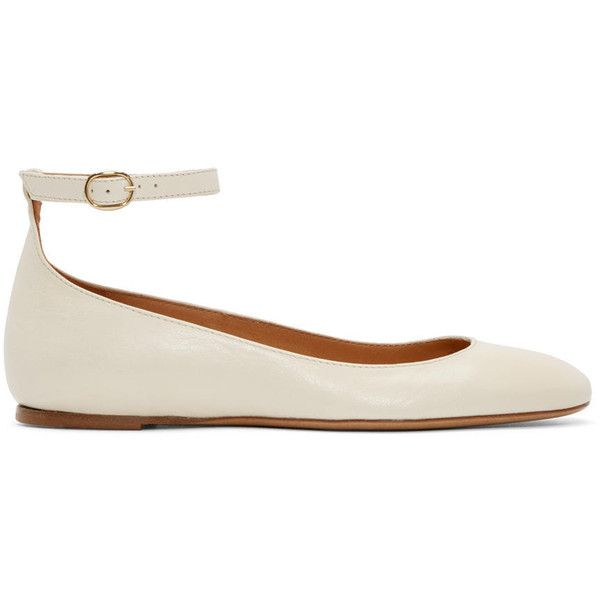 Isabel Marant Cream Leather Lili Ballerina Flats (11,570 THB) ❤ liked on Polyvore featuring shoes, flats, square-toe ballet flats, leather shoes, leather ballerina flats, ankle strap flats and ballet shoes