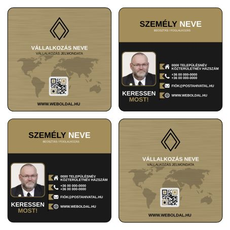 Üzleti névjegykártya másként  (ABC - Another Business Card) tervek (Inkscape - SVG formátum) Arany / Fekete