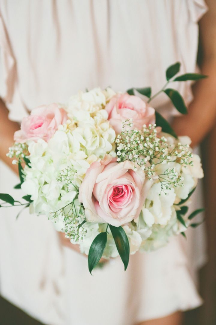 Pink rose  white hydrangea  and babies breath bouquet    photo by Cassandra Photo  via  http   theeverylastdetail com 2013 10 18 vintage rustic pink and white illinois wedding