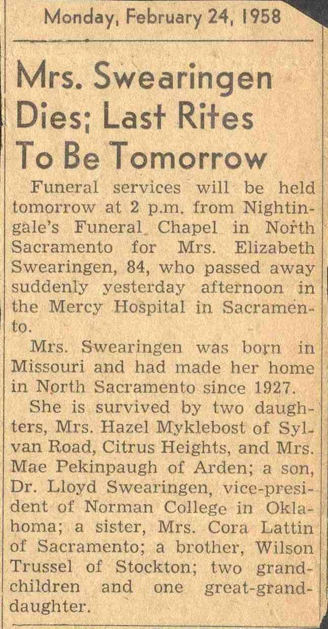 44 best swearingen family history images on pinterest family obituary for elizabeth trussel swearingen 1873 1958 24 february 1958 1betcityfo Choice Image