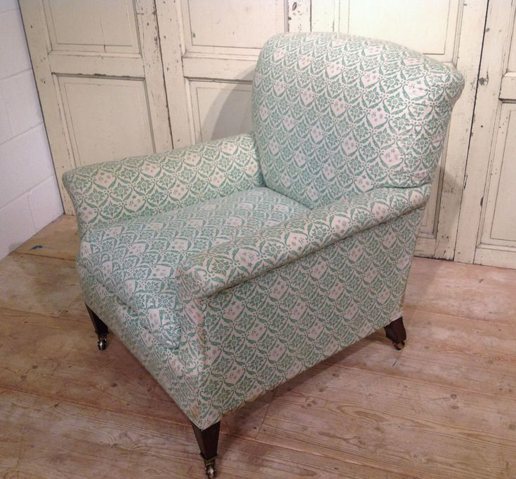 Howard Chair in Original Ticking - Stock - Dean Antiques Ltd, Howard and Sons chairs and sofas