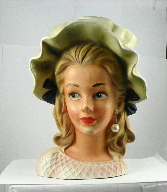 Vintage Rubens Lady Head Vase Long Eyelashes Unusual Read Entire