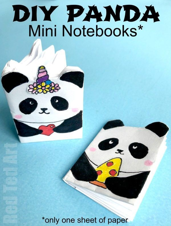 Diy Panda Mini Notebook From One Sheet Of Paper Red Ted Art Make Crafting With Kids Easy Fun Panda Craft Diy School Supplies Mini Notebooks