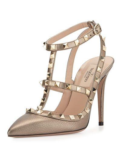 Valentino Rockstud Metallic Leather Sandal, Sasso