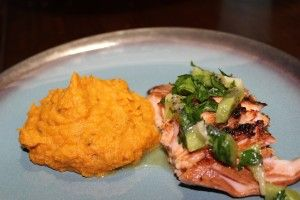 Served my Paleo Roasted Garlic, Onions and Sweet Potato Mashers with Salmon over my fresh kiwi and cilantro lime salsa.