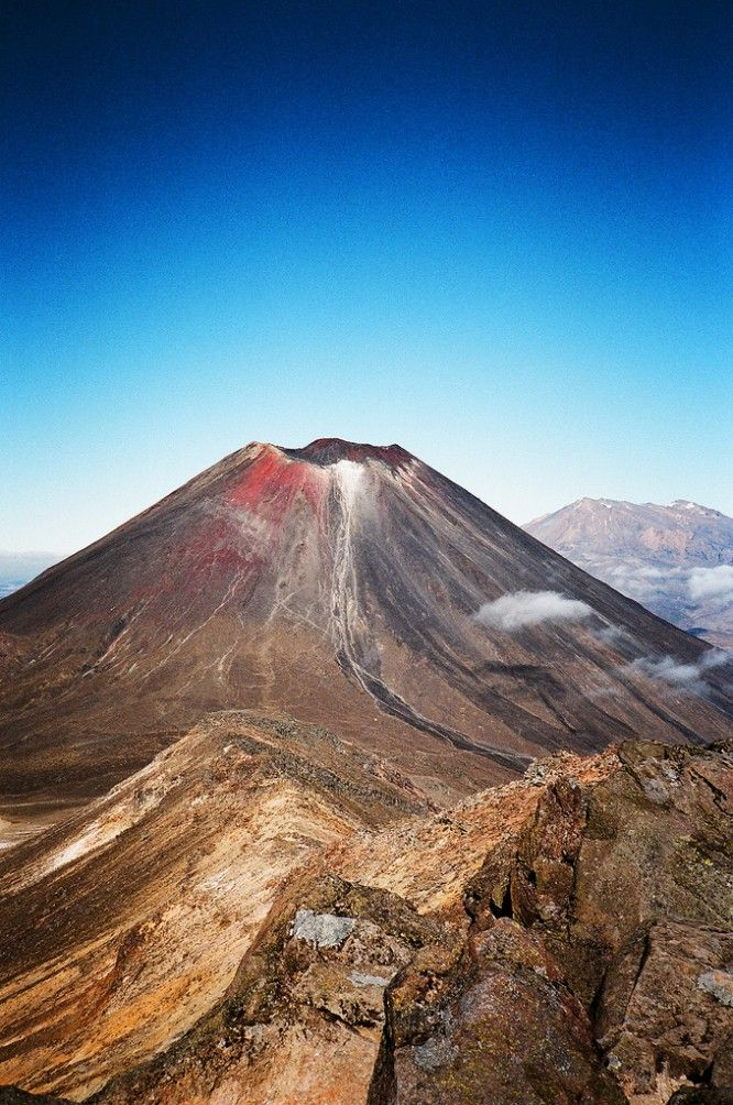 Mt Tongariro, one of 3 major mountains in the central North Island, New Zealand 20km hike