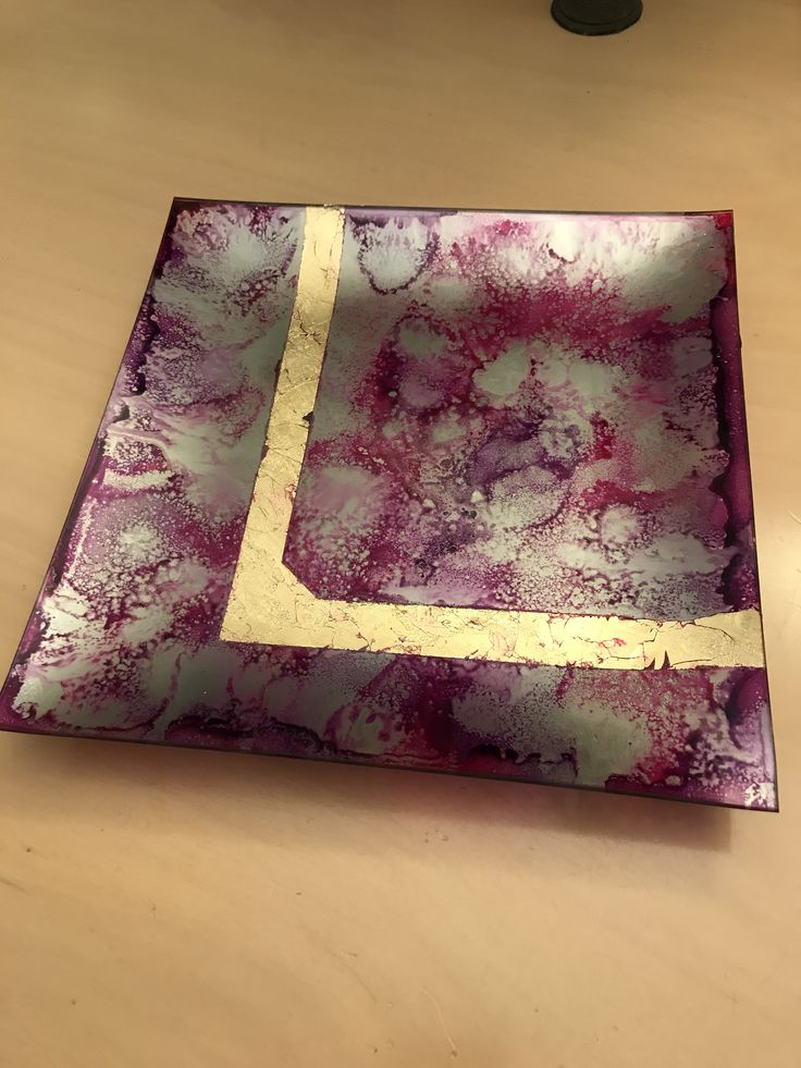 Ink on opposite glass Stamperia magikink and mirror effect craft