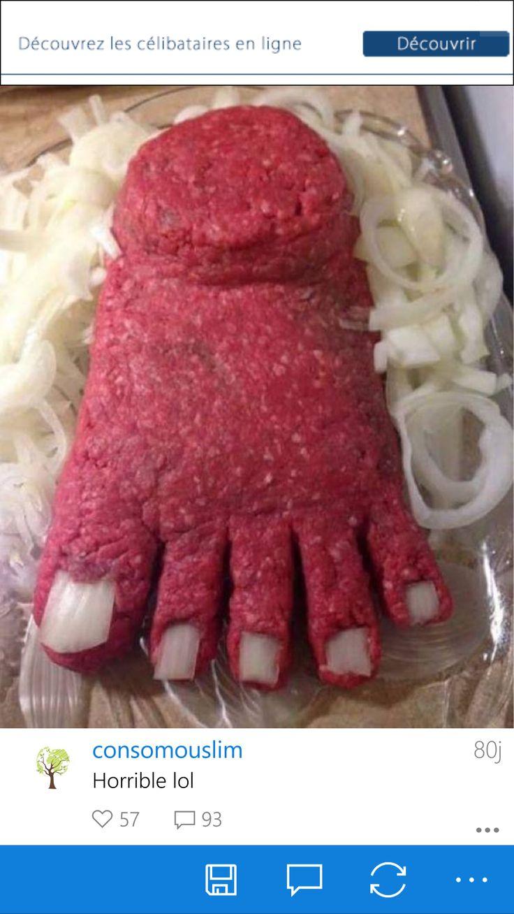Faire un pied avec de la viande haché et oignons pour les ongles