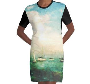 #Graphic T-Shirt #Dress @redbubble @KristaDroopArt #KristaDroop #Eye4Dogs #Unique #Original #Texture #Textile #Apparel #Illustration #Colorful #Graphic #Photographer #DigitalArt #WearableArt #Abstract #Navy #Pier #Ocean #Water #Sail #Boats #Blue #Green #Paint #Photographer #DigitalArtist