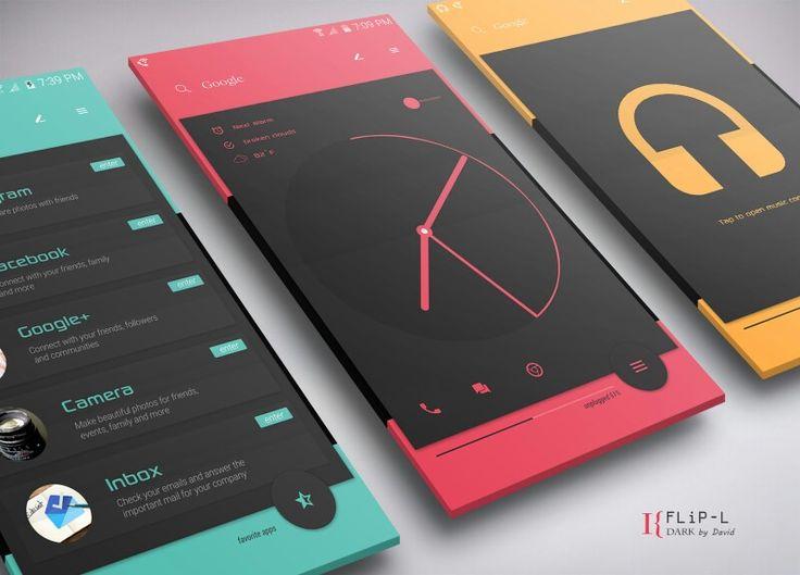flip l material design concept android phone ui ux designs