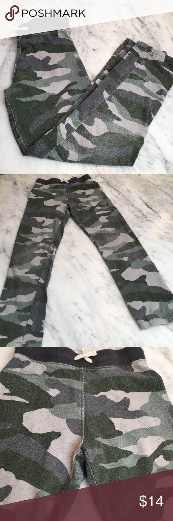 J.Crew Camouflage Sweat Pants J.Crew Camouflage Sweat Pants.  100% Cotton.  Straight Fit.  Used Condition- signs of wear; but definitely have some life left in them.  Sz 7  (J.Crew runs a little small) J. Crew Bottoms Sweatpants & Joggers