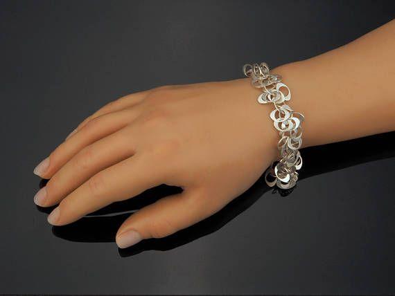 Retro Silver Bracelet 1960s Style Matte Silver