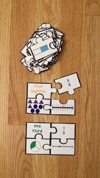 Fractions on a Number Line Puzzles are a valuable asset to any 3rd grade classroom. This is a great resource for review, math centers, group work and for interventions. This puzzle set includes 24 puzzles, answer key, and an optional center instruction page. Your students will love learning about representing fractions on a number line and visual models!