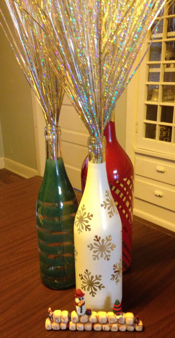 Christmas painted wine bottles.
