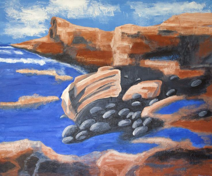 Volcanic coast at Lanzarote #Canary Islands #fineart #acrylic paiting