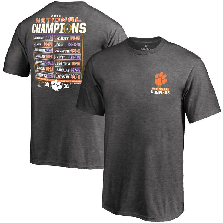 Clemson Tigers Fanatics Branded Youth College Football Playoff 2016 National Champions Schedule T-Shirt - Charcoal - $27.99