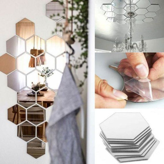 7 Hexagon Mirror Wall Decor Stickers 3D Acrylic Mirrored Decorative Mirror Sticker Waterproof Home Decor Autocollant Silver Wall Mirror