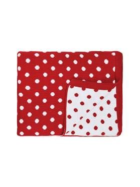 Kids Red Dotty Spot Throw from Linen House's Hiccups range, available at Forty Winks.