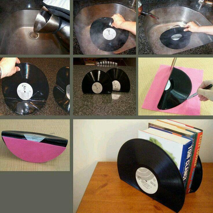 Fermalibro con vecchi dischi di vinile