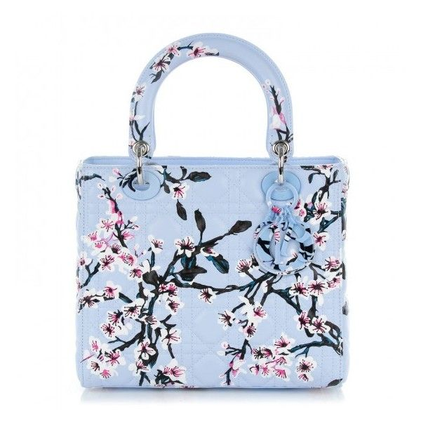 CHRISTIAN DIOR Lambskin Cannage Floral Printed Medium Lady Dior Light... ❤ liked on Polyvore featuring bags, handbags, christian dior purses, blue tote handbags, floral purse, embroidered purse and zippered tote bag
