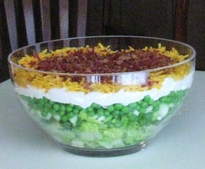 Cooking with K: 7 Layered Salad, {Granny's Recipe}  I make this but I sprinkle about a tablespoon of sugar over the mayo...you can make a day ahead...its even better tasting!!  Always on our family Thanksgiving menu!
