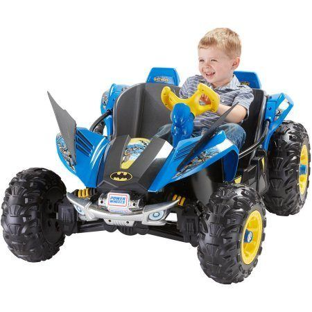 awesome Fisher-Price Power Wheels Batman Dune Racer Battery-Powered Ride-On, Includes 12V battery and chargerBattery-powered Batman Dune Racer Monster Traction system Drives on hard surfaces, wet grass and rough terrain Speeds of 2.5 mph and 5 mph; 2.5 mph max in reverse