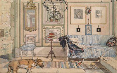 壁紙をダウンロードする カールlarsson, 1894, スウェーデンの家, 居心地の良いコーナー, 水彩画