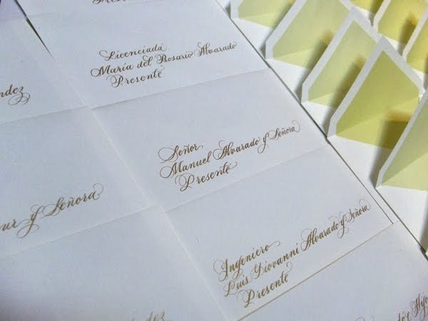 Gold Ink Envelope Addressing By Monica Shirazy