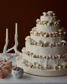 mushroom cake!: Modern Wedding Cake, Grooms Cake, Meringue Mushrooms, Wedding White, Wedding Cakes, Martha Stewart, Theme Cake, Mushrooms Cake, Cake Art