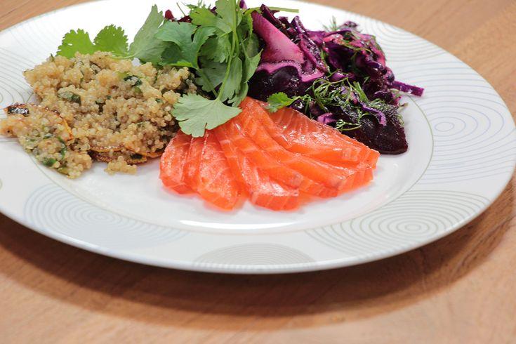Sofies Feestmaand: Gemarineerde zalm, quinoa, rode biet en salade van rode kool