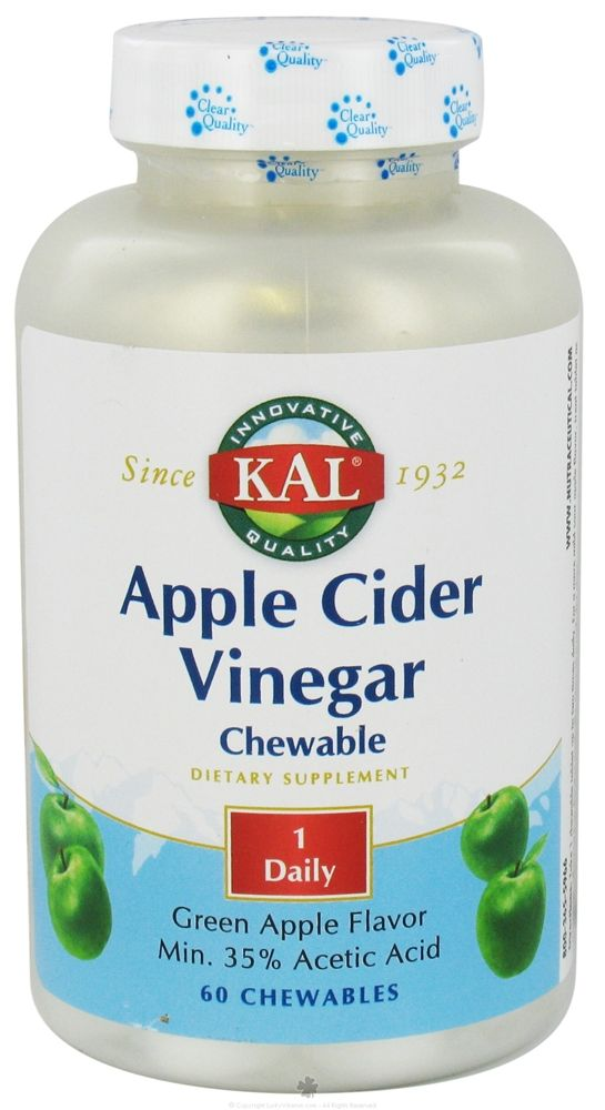 5 Star Customer Rating! Easier to ingest for those who don't like to drink ACV but still want the benefits.  Kal - Apple Cider Vinegar Green Apple Flavor - 60 Chewable Tablets at LuckyVitamin.com