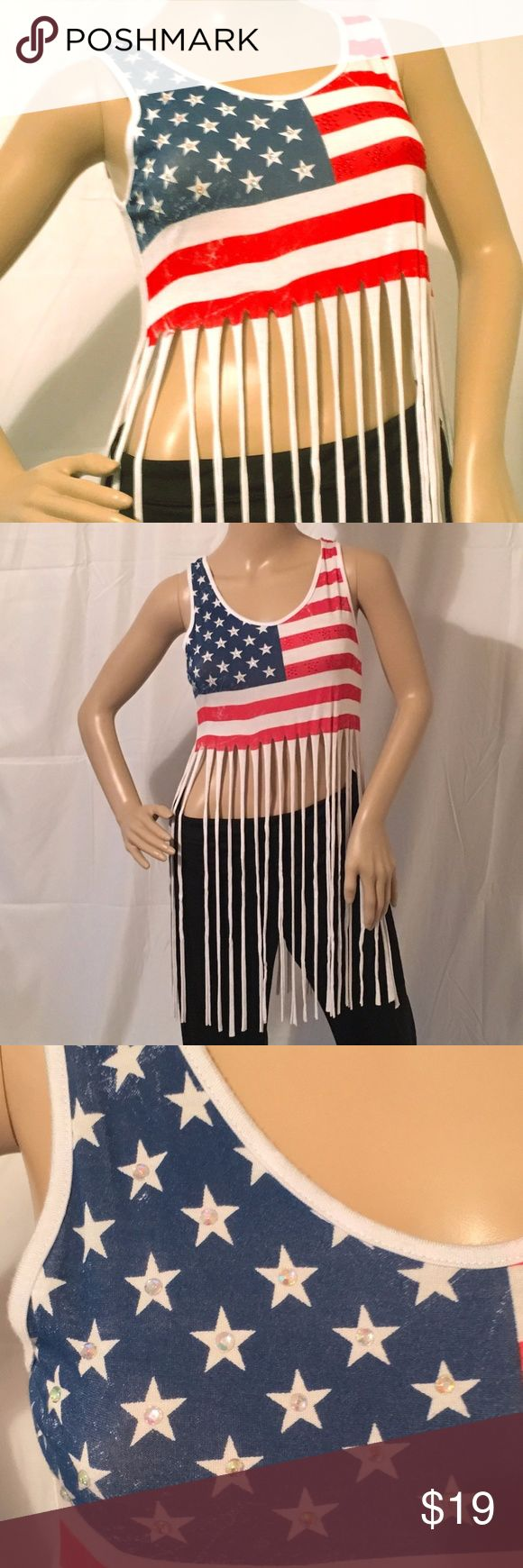Flag Fringed Patriotic Tank Top »  Cute & Sexy Way to Express Patriotism at Your Next Holiday BBQ »  95% Rayon  |  5% Spandex »  Stone-Studded Stars & Stripes »  Condition:  NWT Bling Bling Tops Tank Tops